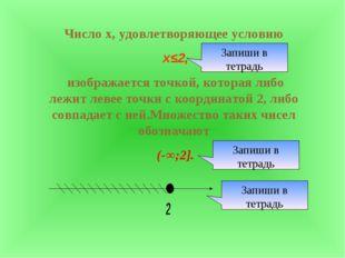 Число х, удовлетворяющее условию х≤2, изображается точкой, которая либо лежит