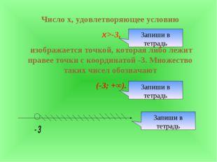 Число х, удовлетворяющее условию х>-3, изображается точкой, которая либо лежи