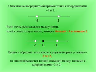 Отметим на координатной прямой точки с координатами –3 и 2. Если точка распо