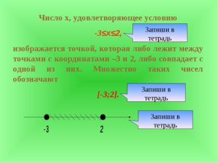 Число х, удовлетворяющее условию -3≤х≤2, изображается точкой, которая либо ле