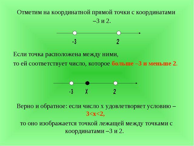 Отметим на координатной прямой точки с координатами –3 и 2. Если точка распо...
