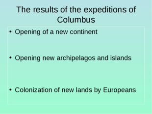 The results of the expeditions of Columbus Opening of a new continent Opening