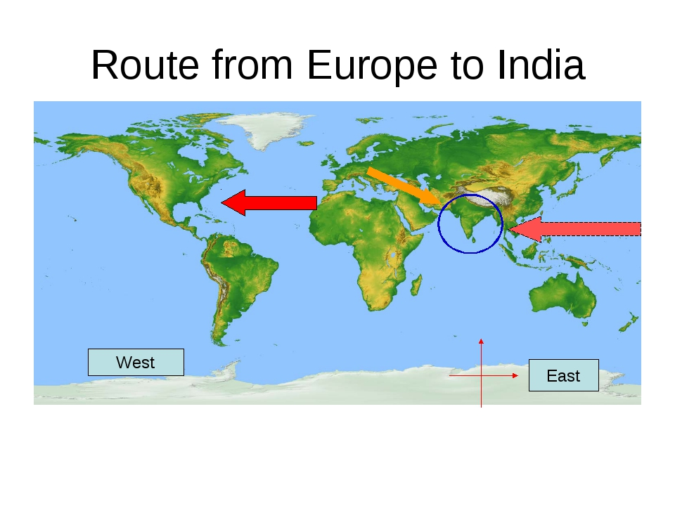 Route from Europe to India East West