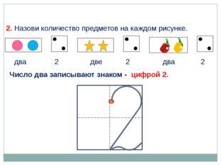 2. Назови количество предметов на каждом рисунке. два две два 2 2 2 Число два