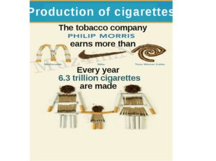 Production of cigarettes The tobacco company earns more than Every year 6.3