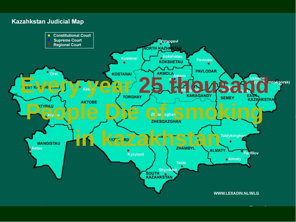 Every year 25 thousand People Die of smoking in kazakhstan