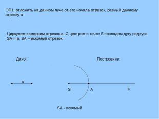 ОП1. отложить на данном луче от его начала отрезок, равный данному отрезку a