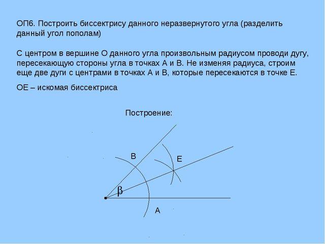 ОП6. Построить биссектрису данного неразвернутого угла (разделить данный угол...