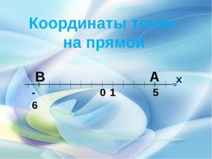 Координаты точки на прямой А В 0 1 5 -6 х