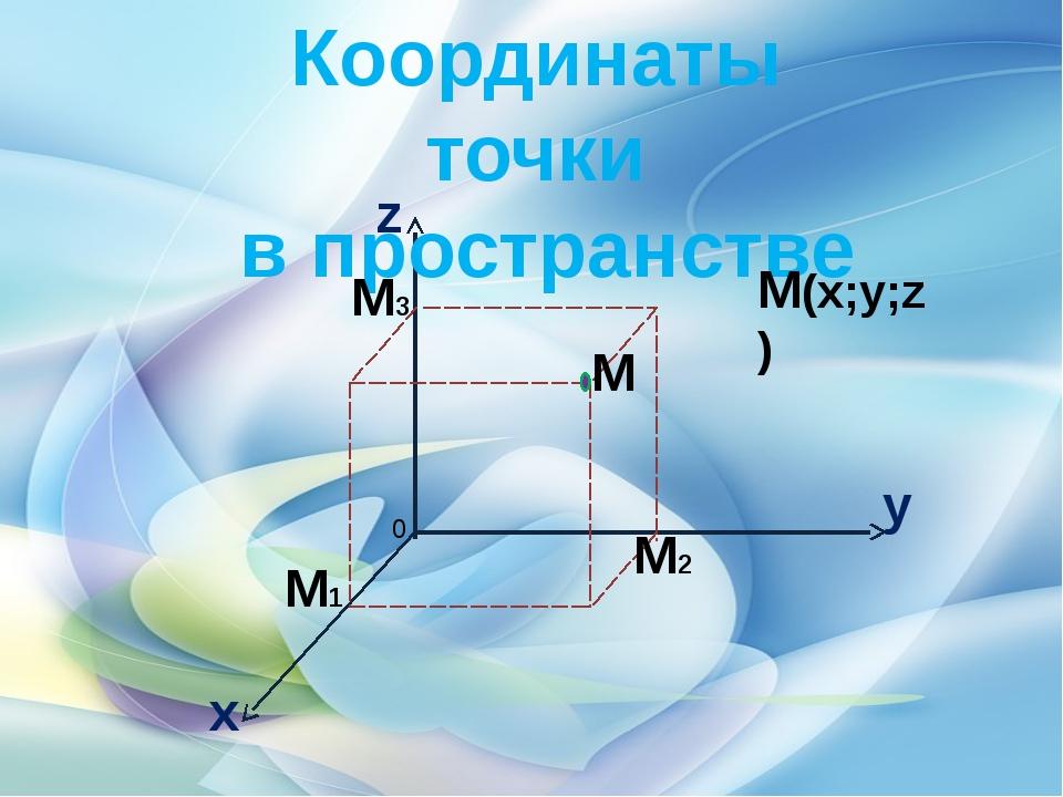 Координаты точки в пространстве М(х;у;z) М2 М1 М3 М у х z 0