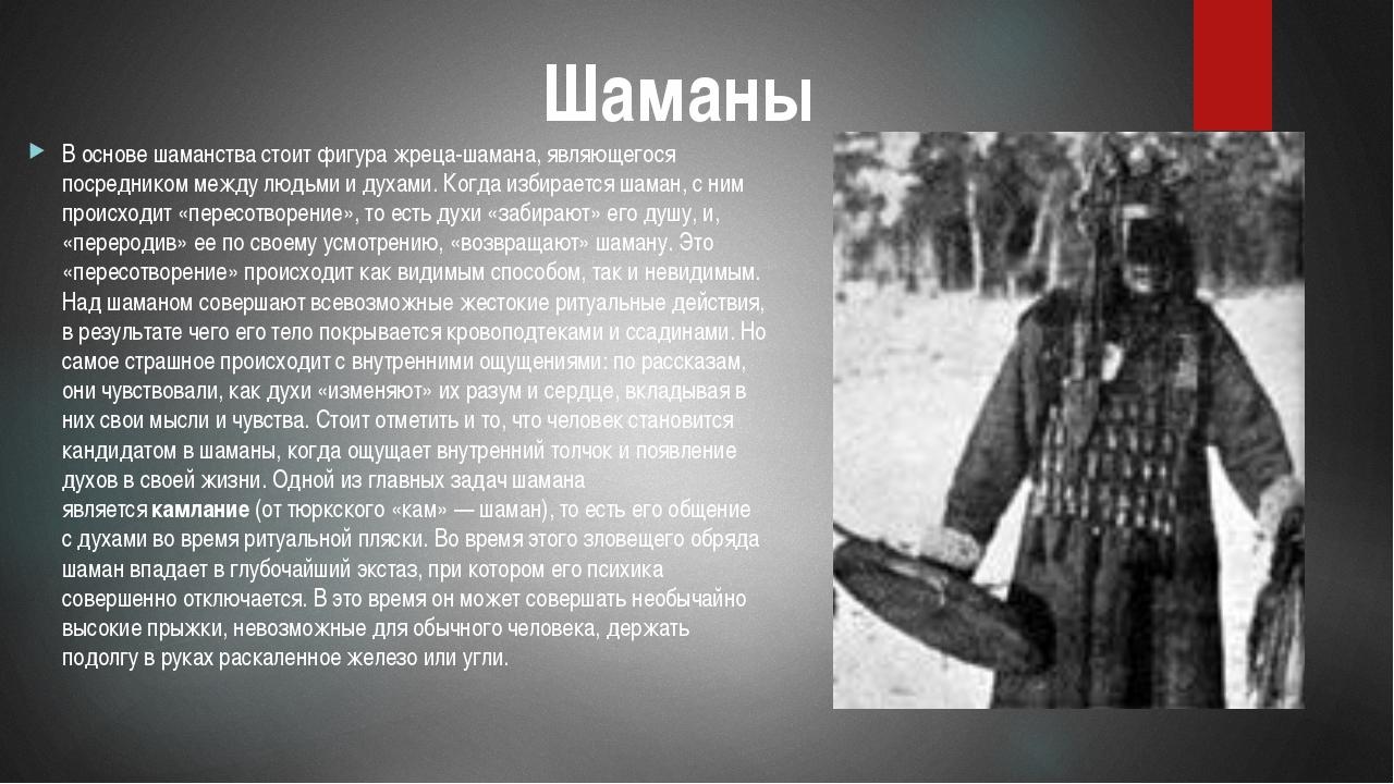 В основе шаманства стоит фигура жреца-шамана, являющегося посредником между л...