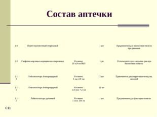 C* Состав аптечки 1.8Пакет перевязочный стерильный1 шт.Предназначен для