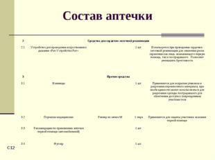 C* Состав аптечки 2Средства для сердечно-легочной реанимации 2.1Устройство