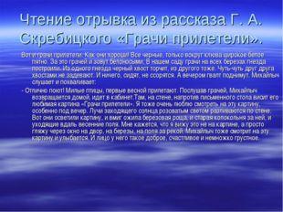 Чтение отрывка из рассказа Г. А. Скребицкого «Грачи прилетели». Вот и грачи п