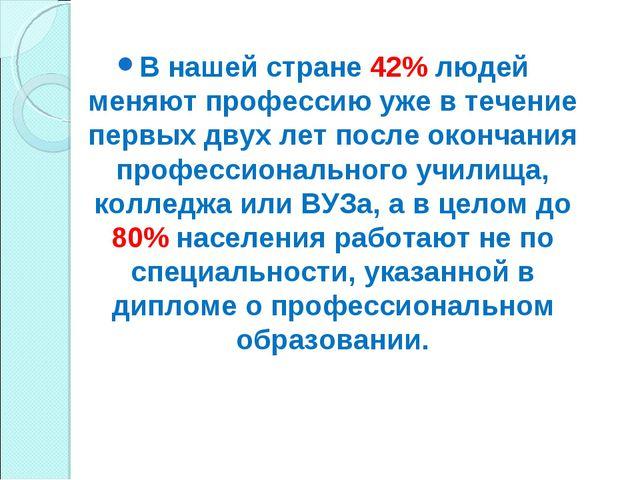 В нашей стране 42% людей меняют профессию уже в течение первых двух лет после...