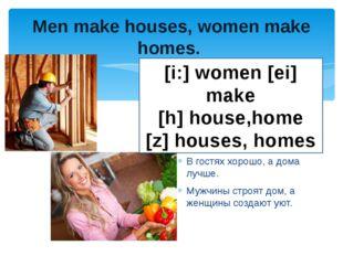 Men make houses, women make homes. Мой дом – моя крепость. В гостях хорошо, а