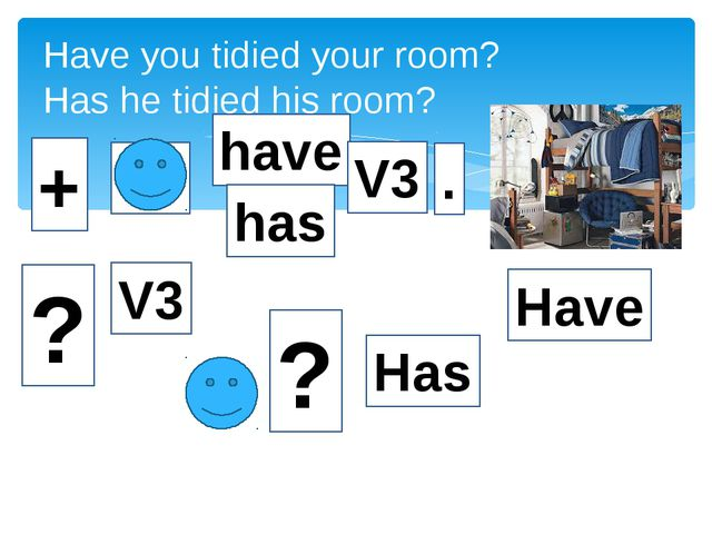 Have you tidied your room? Has he tidied his room? + Yo have V3 . ? Have Has...