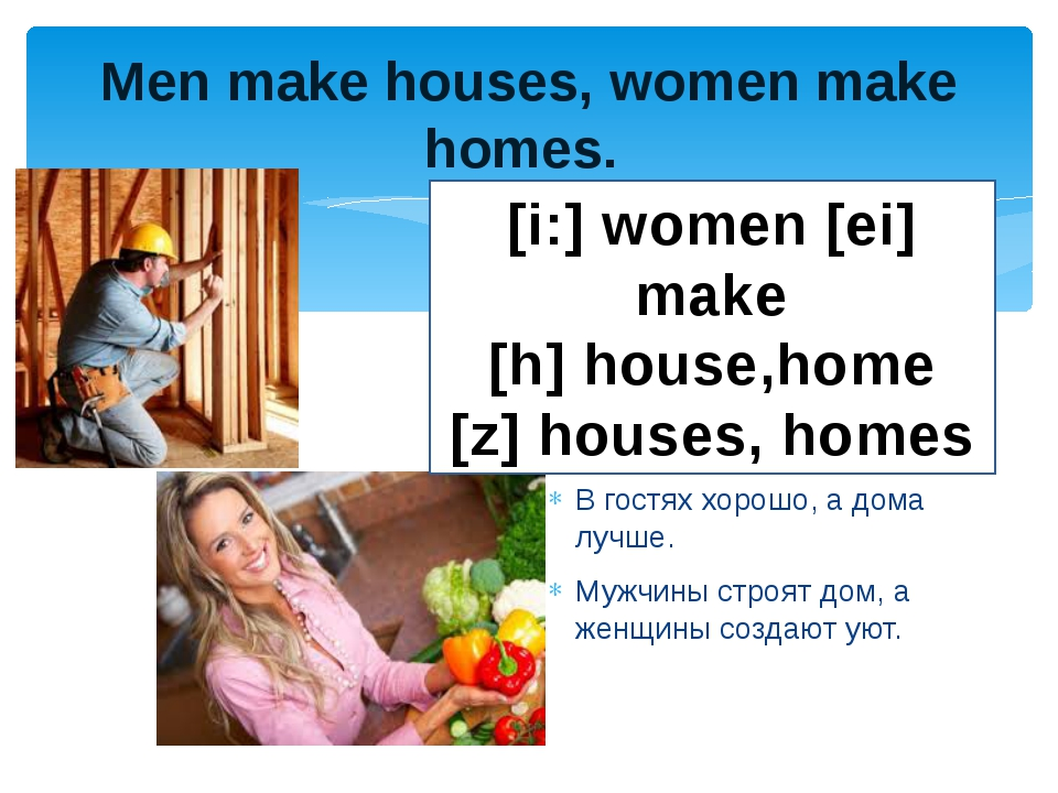 men make houses women make homes For the married christian woman, the greatest contribution she can make will begin in her home it will be acted out with god's priorities in mind and it will be accomplished because god has given her the means and the authority with which to do it.