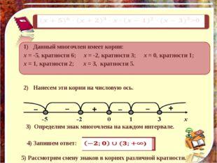 Обобщая наблюдения, делаем выводы: При четном k многочлен справа и слева от х