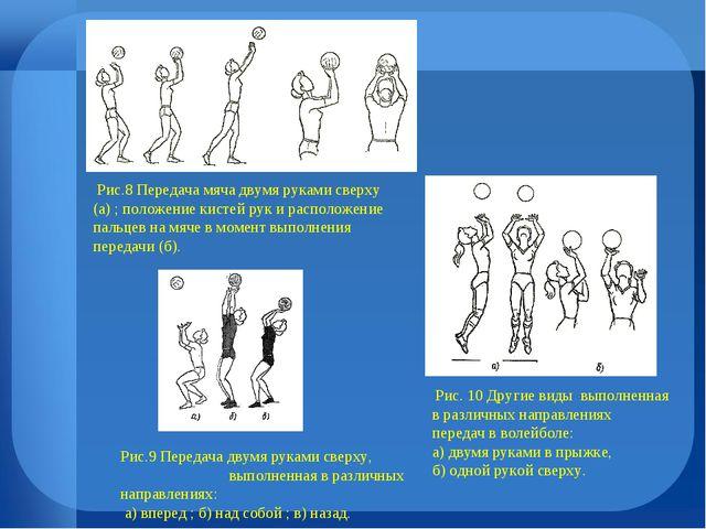Рис.8 Передача мяча двумя руками сверху (а) ; положение кистей рук и располо...