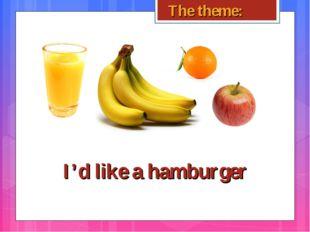 I'd like a hamburger The theme: