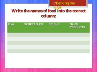 Write the names of food into the correct column: Checking the H/W: FruitVEGE