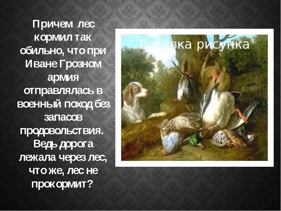 Причем лес кормил так обильно, что при Иване Грозном армия отправлялась в во...