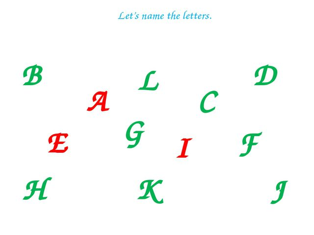 B A L E C G D I F H J K Let's name the letters.