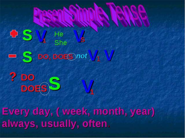 S V He She V s DO, DOES not V 1 1 V ? DO DOES S V 1 S Every day, ( week, mont...