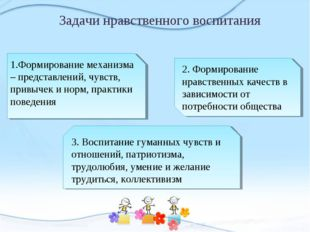 Задачи нравственного воспитания 1.Формирование механизма – представлений, чув