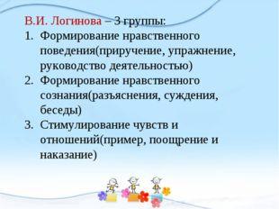 В.И. Логинова – 3 группы: Формирование нравственного поведения(приручение, уп