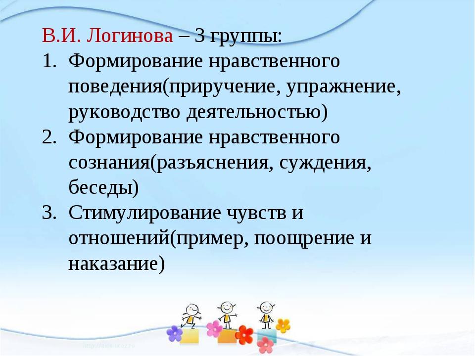 В.И. Логинова – 3 группы: Формирование нравственного поведения(приручение, уп...
