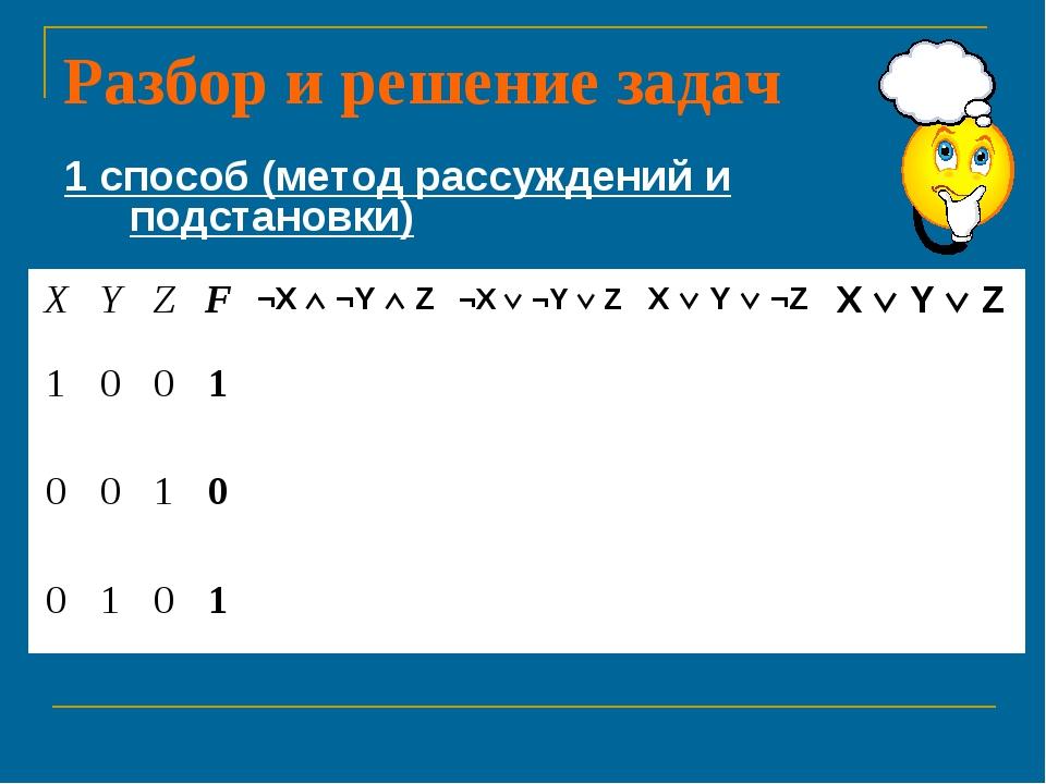 Разбор и решение задач 1 способ (метод рассуждений и подстановки) XYZF¬X...