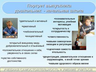 Портрет выпускника дошкольник - начальная школа деятельный и активный креатив