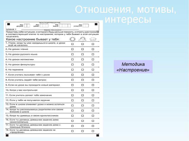 Отношения, мотивы, интересы Методика «Настроение»