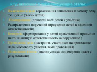 КТД включает в себя следующие этапы: Включение в дело (организация отношения