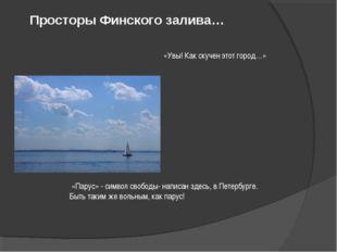 Просторы Финского залива… «Парус» - символ свободы- написан здесь, в Петербу