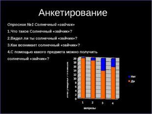 Анкетирование Опросник №1 Солнечный «зайчик» 1.Что такое Солнечный «зайчик»?