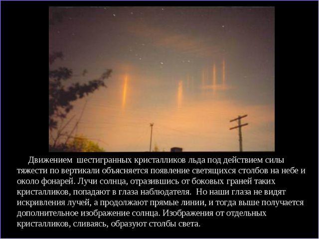 Движением шестигранных кристалликов льда под действием силы тяжести по верти...