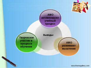 Выводы: АМО активизируют учебный процесс Творческое участие в процессе обучен
