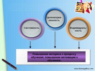 Повышение интереса к процессу обучения, повышение мотивации к обучению. Систе