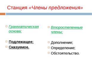Станция «Члены предложения» Грамматическая основа: Подлежащее; Сказуемое. Вто