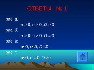 ОТВЕТЫ № 1 рис. а: а > 0, с > 0 ,D > 0 рис. б: а > 0, с > 0, D = 0; рис. в: а