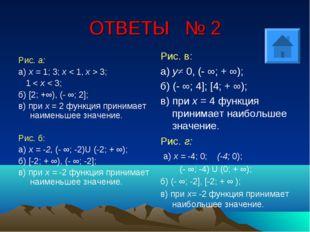 ОТВЕТЫ № 2 Рис. а: а) х = 1; 3; х < 1, х > 3; 1 < х < 3; б) [2; +∞), (- ∞; 2]