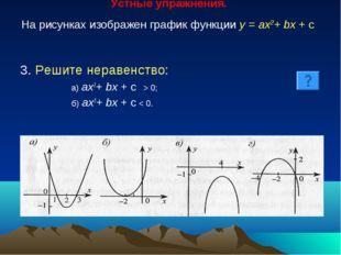 Устные упражнения. На рисунках изображен график функции у = ах2+ bх + с 3. Р