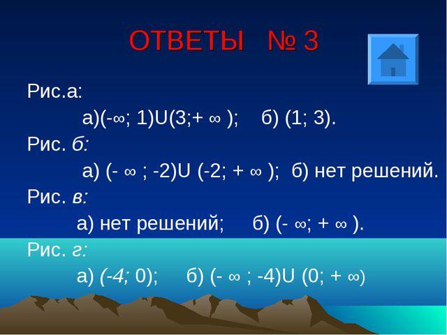 ОТВЕТЫ № 3 Рис.а: а)(-∞; 1)U(3;+ ∞ ); б) (1; 3). Рис. б: а) (- ∞ ; -2)U (-2;...