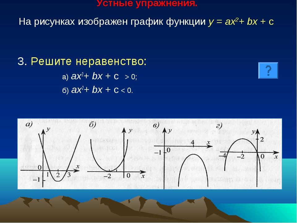 Устные упражнения. На рисунках изображен график функции у = ах2+ bх + с 3. Р...