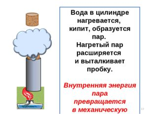 * Вода в цилиндре нагревается, кипит, образуется пар. Нагретый пар расширяетс