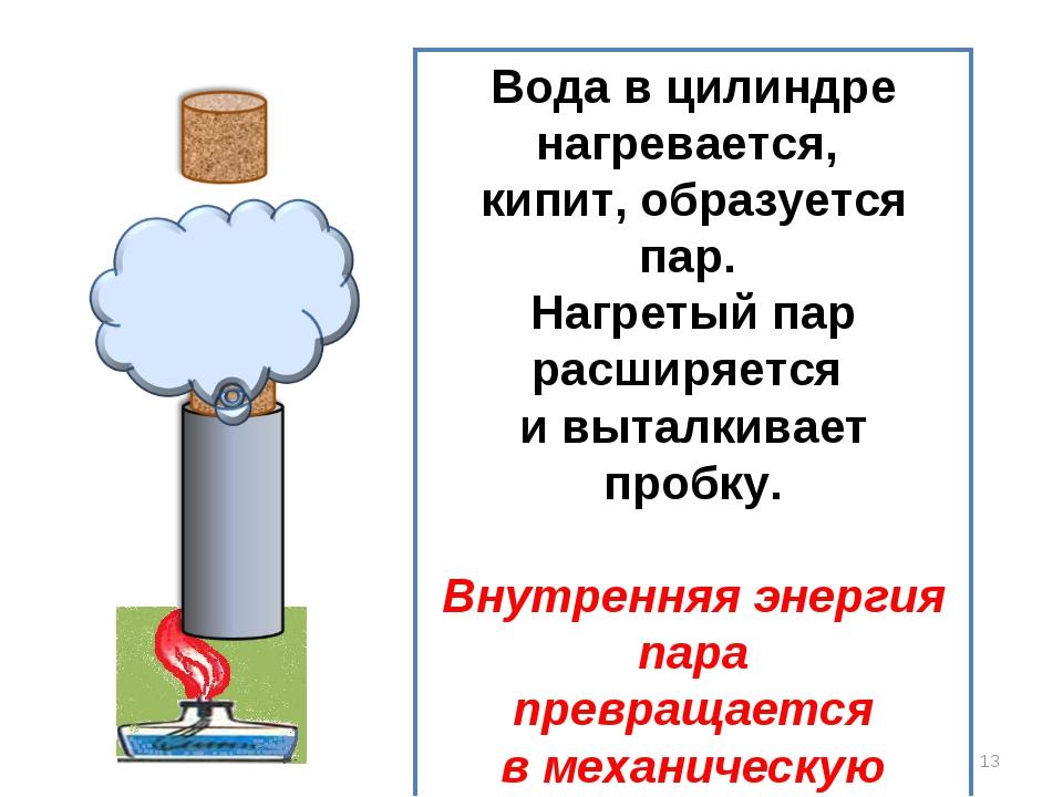 * Вода в цилиндре нагревается, кипит, образуется пар. Нагретый пар расширяетс...