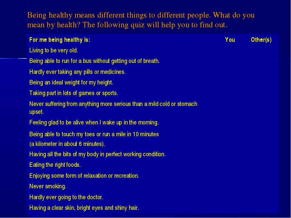 Being healthy means different things to different people. What do you mean by...
